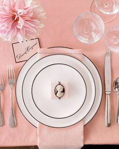 Pink and black table setting