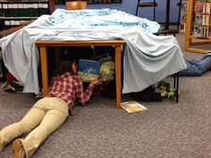 Family Forts After Hours program - fort building, storytime & snack, hide-and-seek = awesome, low cost program!