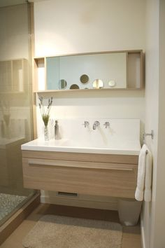 Good gracious, just when you think you have your favorite picked out, another vanity with a matching mirror wins your heart. Ikea Malm Nightstand, Home Ownership, House Tours, Vanity, Bath, Mirror, Heart, Modern, Dressing Tables