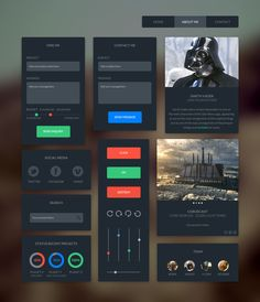 Free Flat Dark UI Kit