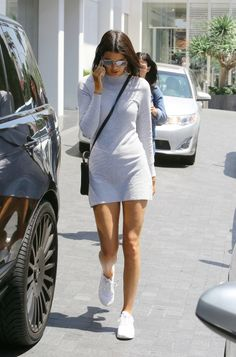 little dress, white sneakers @roressclothes closet ideas #women fashion outfit #clothing style apparel