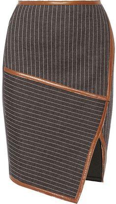 Jonathan Simkhai Leather-Trimmed Neoprene-Bonded Jersey Skirt ($425)