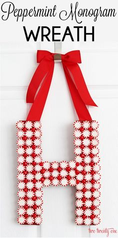 Peppermint Monogram Wreath + The Ultimate Holiday Idea Exchange