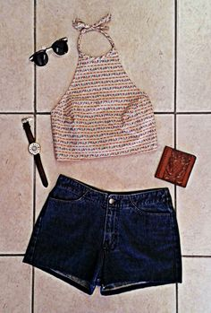 Look of the Day... Sunglasses - R165 Tarynella cotton crop top - R120 The Ramp feather print watch - R150 Lehza vintage leather wallet - R120 Tarynella vintage denim shorts - R255