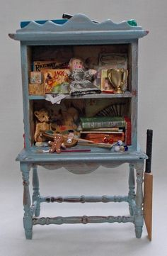 Dollhouse Miniature Nursery Antique Style Childs distressed Toy Cupboard