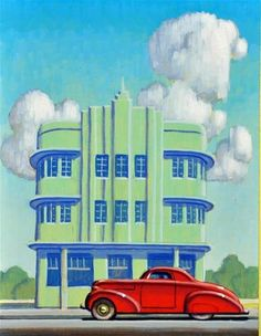 "Daily Paintworks - ""Miami Deco"" - Original Fine Art for Sale - © Robert LaDuke Retro Kunst, Retro Art, Vintage Art, Miami Art Deco, Art Deco Artwork, Art Deco Posters, Pop Art, Pinturas Art Deco, Moda Art Deco"