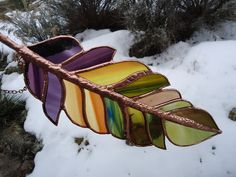 stained glass feather GHOST DANCE FEATHER by ZuniMountainArtGlass