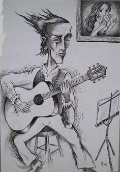 EL GRAN GUITARRISTA FLAMENCO PACO DE LUCÍA. DIBUJO DE HUGO BORJA NÚÑEZ.