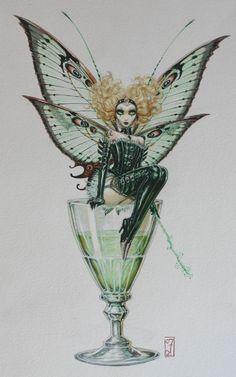 Fée Absynthe / Absinthe Fairy par Olivier Ledroit - Oeuvre originale