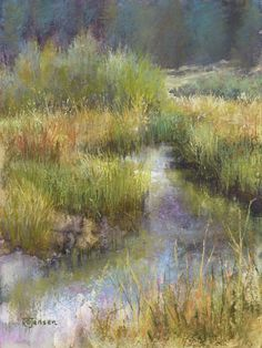 "A Gentle Flow by Randye Jensen Pastel ~ 12 "" x Pastel Landscape, Watercolor Landscape, Landscape Art, Landscape Paintings, Watercolor Pictures, Pastel Art, Pastel Paintings, Pastel Pencils, Pencil Painting"