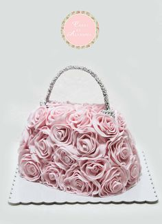 cake purse with pink roses
