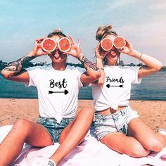 Best Friends T shirt Women T-shirt Summer Short Sleeve Sister Bff T Shirt Women Tshirt Top Black White Cotton Tee Shirt Femme – Funny Photo İdeas