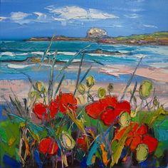 Judith Bridgland - Poppies by the Shore, North Berwick Painting Prints, Watercolor Paintings, Seascape Art, Landscape Artwork, Art For Art Sake, Art Sketchbook, Cool Artwork, Painting Inspiration, Art Pictures