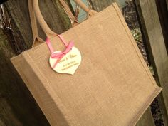 Jute or Burlap Welcome Bag, Out of Town Guest, Itinerary, Destination Wedding Tote Bag with Tag and Ribbon