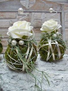 Others - Table arrangements, set of balls with rose, silver - a designer piece by . - Other – Table arrangements, set of balls with rose, silver – a unique product by die-mit-den - Wedding Centerpieces, Wedding Decorations, Christmas Decorations, Table Decorations, Deco Floral, Arte Floral, Table Arrangements, Floral Arrangements, Fleur Design