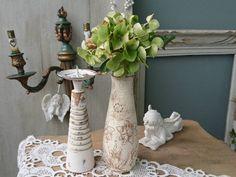 Romantische Vase Shabby Vintage Landhaus PflanzTopf Blumen-Schale Glas Silber