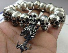 Handcrafted Silver Skull & Skeleton Bracelet