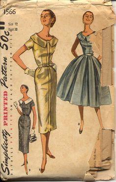 Simplicity 1566 - 1950s Dress Pattern Womens Vintage Sewing Pattern  $22.00, via Etsy.