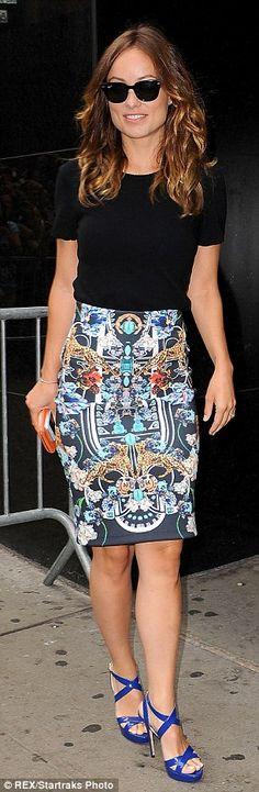 Summer #streetstyle   Olivia Wilde in a Crippen shirt, Clover Canyon pencil skirt & Jimmy Choo heeled sandals
