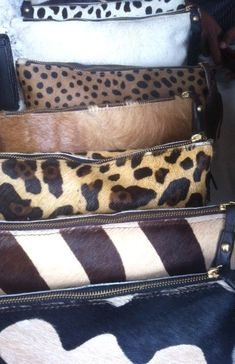 Genuine CowHide Clutch - Animal Print Bag with Suede Lining and Leather Tassel