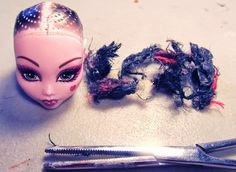 Monster High Doll Hair Removal Tutorial. My FAST and EASY method to removing doll hair.