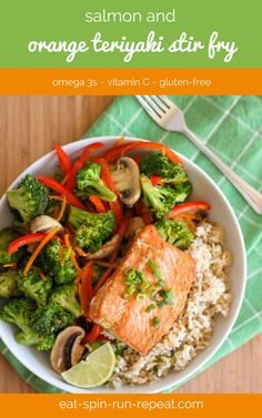 Loaded with ginger, antioxidant-packed veggies, protein-rich salmon, and served over a bed of brown rice, this easy stir fry recipe is a great one to enjoy on days when you've had a tough workout.