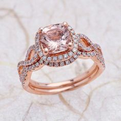 Etsy 8x8mm Cushion Cut Peach Morganite Halo Engagement Ring with Wedding Band in 14K Rose Gold