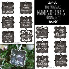 Names of Christ - free printable ornaments (LDS Lane) Ward Christmas Party, Homemade Christmas, Simple Christmas, All Things Christmas, Christmas Holidays, Xmas, Christmas 2017, Christmas Neighbor, Rustic Christmas