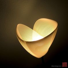 Clothoid.B lamp is created by a mathematical curve formula and then that spline is lofted in 3d CAD software. Resulting form is parametric and adjustable in almost infinite number of combinations.