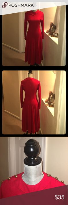 Worn once, below knee dress Form fitting red dress Liz Claiborne Dresses Long Sleeve