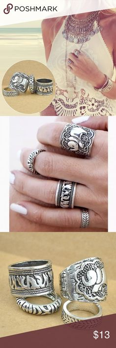 NEW 4pcs/set Vintage Punk Ring Plated Elephant BRAND NEW quality. Perfect decoration for your fingers, to improve your charming. An eye catching ring set, can easily attract others' eyesight. A wonderful gift for your girlfriend, wife and female friends. Item type: ring Material: metal Color: antique silver, antique gold Quantity: 4pcs Gender: women Style: vintage Shape: elephant Weight: 22g Package includes: 1 set of 4 elephant rings Jewelry Rings