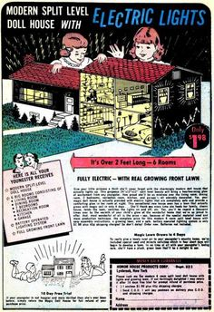 Vintage tin dollhouse advertisement, (modern split level doll house with ELECTRIC LIGHTS)   Source: Unknown @ Tumblr, original image unavailable