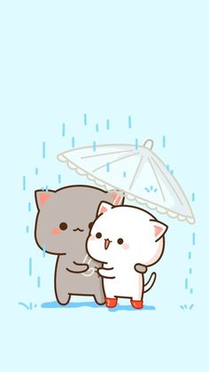 Cute Kitties Under An Umbrella