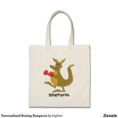 Personalized Boxing Kangaroo Budget Tote Bag