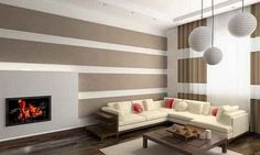 how to paint patterns on walls: horizontal-striped-living-room-interior-painting