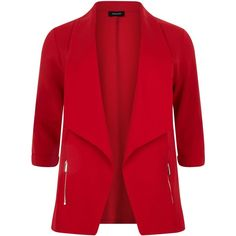 New Look Plus Size Red Zip Pocket Blazer ($23) ❤ liked on Polyvore featuring outerwear, jackets, blazers, blazer, red, plus size red blazer, red jacket, red blazer jacket, plus size blazers and blazer jacket