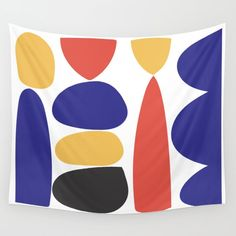 Primary Shapes Wall Tapestry by kitchensinkprintshop Geometric Wall Art, Colorful Wall Art, Society 6 Tapestry, Retro Design, Decorating On A Budget, Minimalist Home, Wall Tapestry, Vivid Colors, Hand Sewing