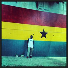 Ghana - man waiting for bus!
