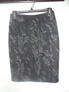 NWTS EILEEN FISHER SZ. XS, WASHABLE WOOL FLORA JACQUARD SKIRT, GRAY/BLACK #EileenFisher #StraightPencil