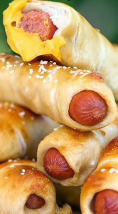 Simple Homemade Pretzel Dogs. May have to make these for my daughter for an after school snack.
