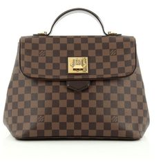 Pre-Owned Louis Vuitton Bergamo Handbag Damier MM ($1,615) ❤ liked on Polyvore featuring bags, handbags, tote bags, brown, louis vuitton tote bag, purse tote bag, louis vuitton, hand bags and louis vuitton handbags