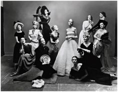 From left to right, the models are Meg Mundy, Marilyn Ambrose, Helen Bennett, Dana Jenney, Betty McLauchlen (on stepladder), Lisa Fonssagrives (center to the right of McLauchlen in profile), Lily Carlson, Dorian Leigh (reclining), Andrea Johnson, Elizabeth Gibons, Muriel Maxwell (on stepladder) and Kay Herman [Twelve Beauties, 1947 by Irving Penn]
