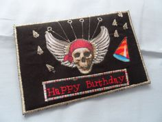 Quilted  Postcard  Handmade  Happy Birthday by Fiberartplus