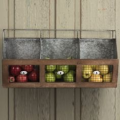 Metal 3 Bin Wall Organizer has 3 numbered metal bins. Visit Antique Farmhouse for more wall organizers and wall bins.