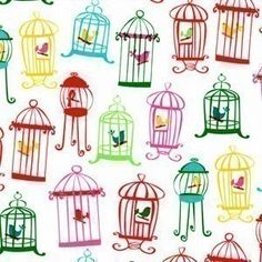 Fabric Shelf - Michael Miller Tweet Tweet Bird Cage White Fabric- By the Yard