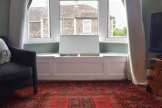 Victorian Bay Window Seat with storage. Finished DIY project.