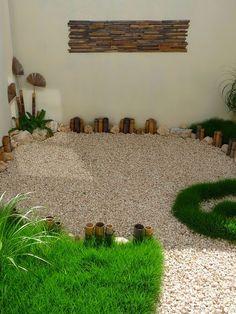 diseño de un jardin pequeño minimalista - decoraciones de bambu