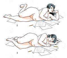 A lying naked woman draws, then falls asleep over her drawings  via tasteminty.com