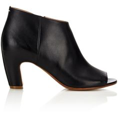 Maison Margiela Women's Short Peep Toe Ankle Boot (3,485 ILS) ❤ liked on Polyvore featuring shoes, boots, ankle booties, black, ankle boots, high heel ankle boots, black leather bootie, black high heel booties and black leather boots
