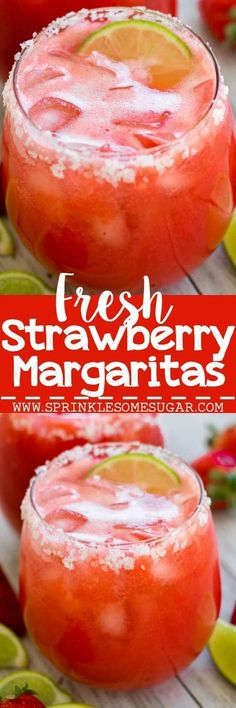 Strawberry margaritas that use fresh strawberries for a fun, refreshing drink! Fresh Strawberry Margaritas - Strawberry margaritas that use fresh strawberries for a fun, refreshing drink! Bar Drinks, Cocktail Drinks, Cocktail Recipes, Alcoholic Drinks, Beverages, Drink Recipes, Tequila Drinks, Tequila Shots, Bourbon Drinks